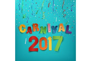 Colorful handmade typographic word carnival 2017.