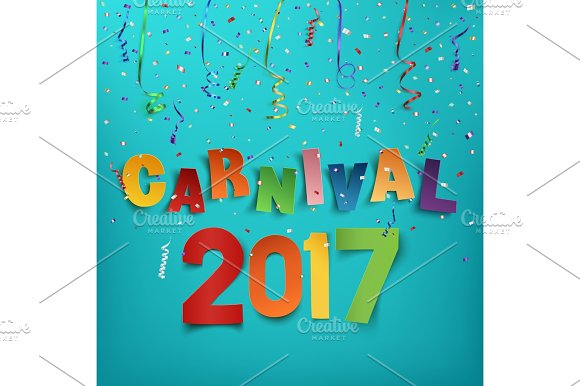 Colorful Handmade Typographic Word Carnival 2017