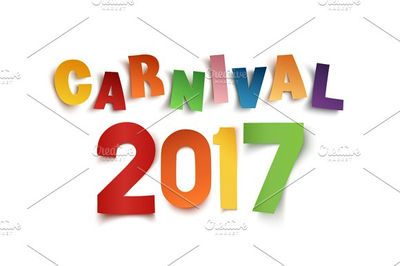 Colorful Handmade Text Carnival 2017 On White