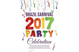 Brazil Carnival 2017 party poster template.