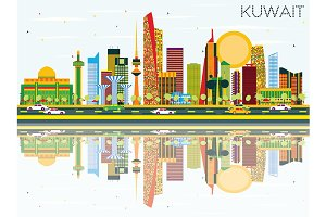 Kuwait Skyline with Color Buildings