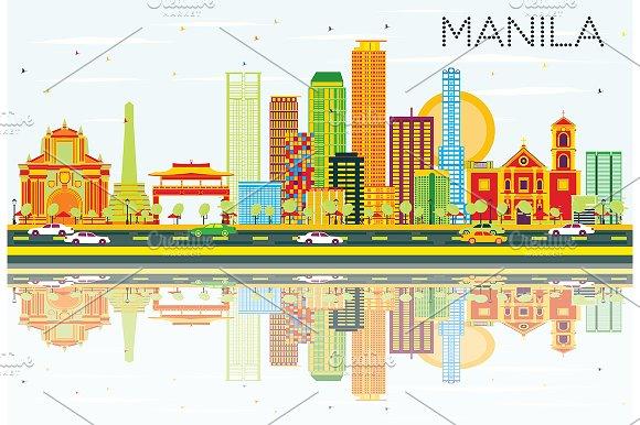 Manila Skyline With Color Buildings
