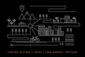 Cycling illustration vectors & logos