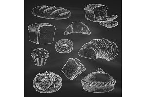 Bread chalk vector sketch icons on blackboard