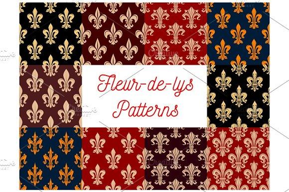 Fleur-de-lis Heraldic Royal Floral Patterns Set