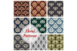 Floral patterns set of flowery ornate design