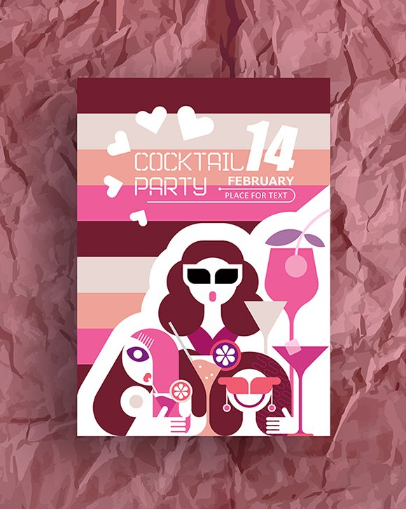 Valentine S Day Party Poster Illustrations Creative Market