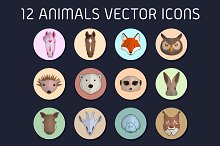 12 animals vector icons