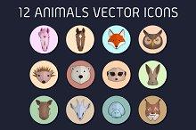 12 animals vector icons