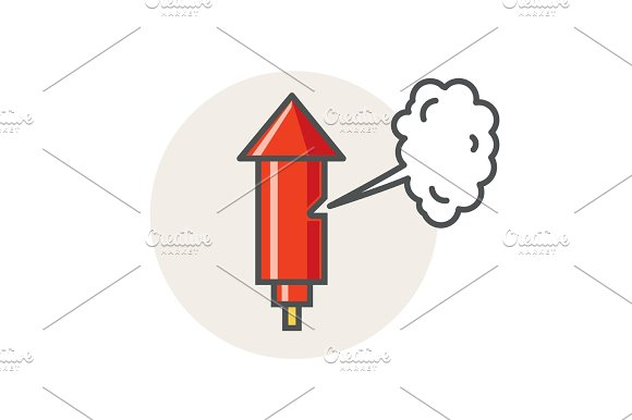 Old Factory Steam Whistle Vector Red Horn Icon Flat Style Design