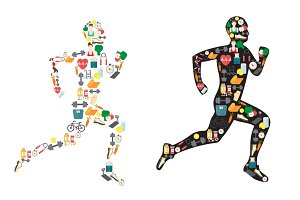 Running man silhouette, sport icons