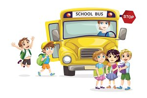 Kids with a school bus