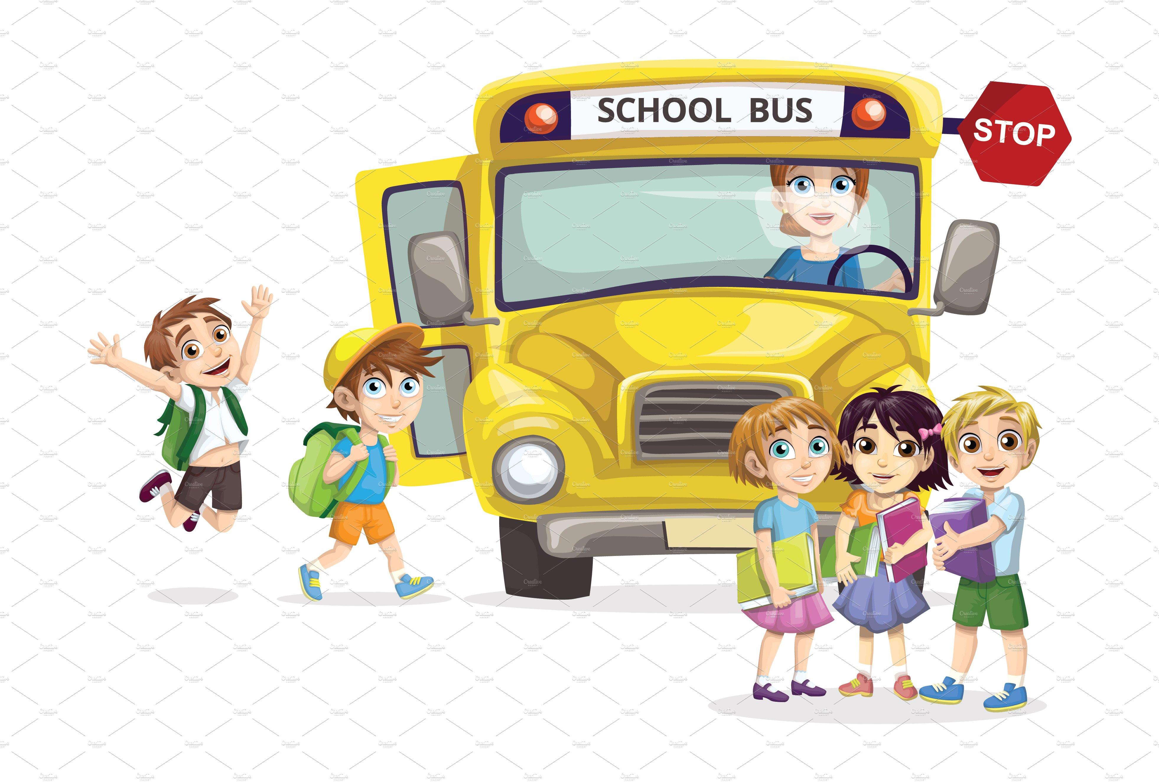 Kids With A School Bus Custom Designed Illustrations Creative