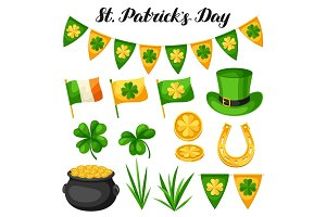 Saint Patricks Day objects. Flag Ireland, pot of gold coins, shamrocks, green hat and horseshoe