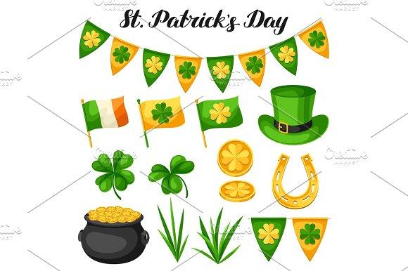 Saint Patricks Day Objects Flag Ireland Pot Of Gold Coins Shamrocks Green Hat And Horseshoe