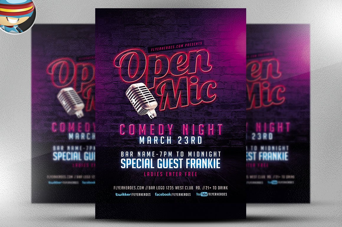 open mic comedy night flyer template flyer templates. Black Bedroom Furniture Sets. Home Design Ideas