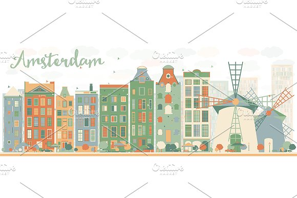 Abstract Amsterdam City Skyline