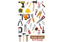 Work tools and equipment isolated icons