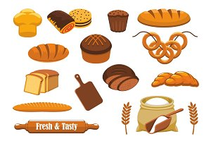 Bread and bun icon set for bakery, food design