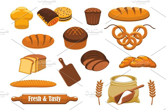 Bread And Bun Icon Set For Bakery Food Design