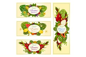 Tropical and exotic fruit banners for food design