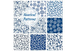 Nautical helm and anchor seamless pattern set