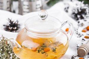 Tea with sea-buckthorn berries