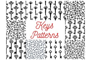 Vintage key, victorian skeleton seamless pattern
