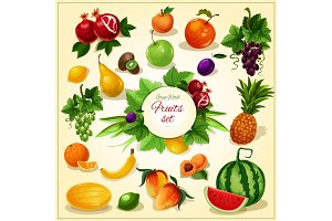Ripe fruit with leaves cartoon poster