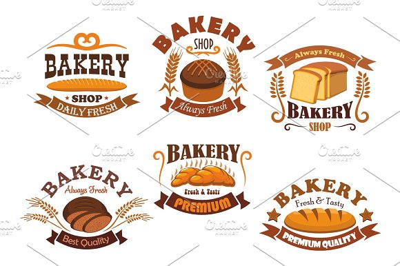 Bakery Shop Badge With Bread And Baguette