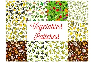 Vegetable, mushroom, olive, spice seamless pattern