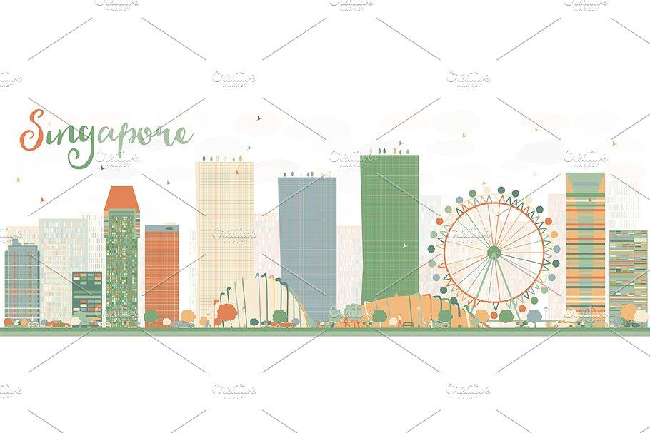 Abstract Singapore skyline