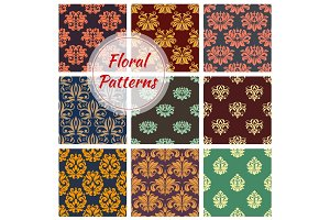 Floral seamless pattern with damask flourishes