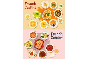 French cuisine national dish icon for menu design