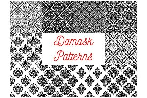Damask seamless pattern set for wallpaper design