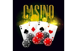 Casino poker vector poster design