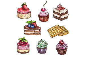 Dessert cakes, cupcakes isolated vector sketch