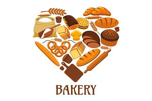 Bakery heart sign of bread, pastry, dessets