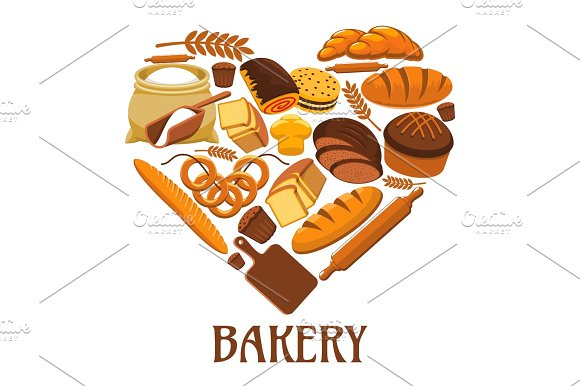 Bakery Heart Sign Of Bread Pastry Dessets