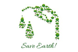 Save Earth symbol of trees in gasoline drop shape