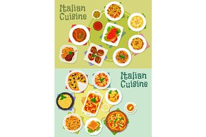 Italian cuisine pasta and pizza dishes icon