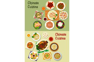 Chinese cuisine icon for oriental menu design