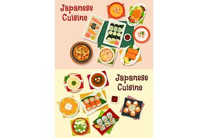Japanese cuisine seafood sushi icon set