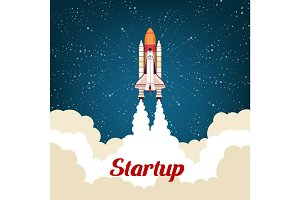Business startup poster with rocket