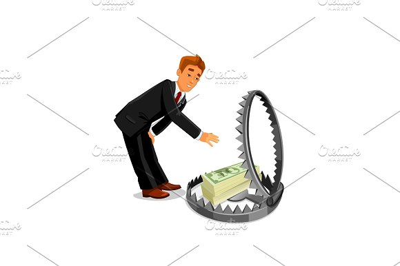 Businessman Taking Money From Trap