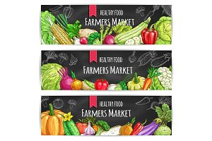 Vegetables. Vegetarian food vector banners