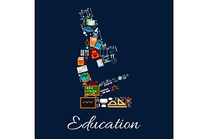 Education microscope symbol of science icons