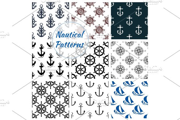Nautical Seamless Pattern Set Of Navy Anchor