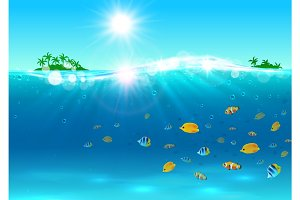 Summer tropical ocean paradise background
