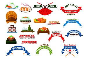 Japanese cuisine sushi icons set